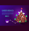 isometric web banner mountain with business vector image