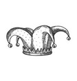 jester hat engraving vector image vector image