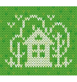 Knitted pattern with house and trees vector image vector image