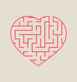 labyrinth heart simple flat isolated on a beige vector image