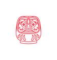 line art japanese daruma logo design vector image vector image
