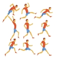 Male Sportsman Running The Track With Obstacles vector image