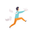 man is late for work or at meeting running with vector image vector image