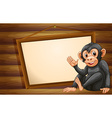 Monkey and sign vector image vector image