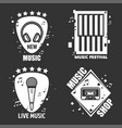 music labels headphones microphone for vector image vector image