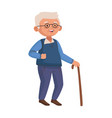 old man eldery walking with cane character vector image vector image