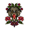 panther butterfly and flowers embroidery patch vector image