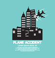 Plane Accident With Skyscrapers Black Graphic vector image vector image