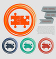 puzzle icon on red blue green orange buttons vector image vector image