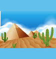 pyramid at the desert vector image vector image
