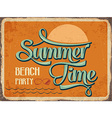 Retro metal sign Summer time vector image vector image
