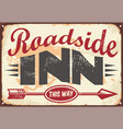 roadside inn old vintage sign layout vector image