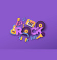 rock music style papercut musical icon template vector image vector image