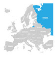 russia marked by blue in grey political map of vector image vector image