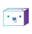 sealed kawaii cardboard box in degraded blue to vector image