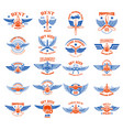 set of vintage airplane emblems design elements vector image vector image