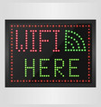 sign of wifi in a retro style with light bulbs vector image vector image