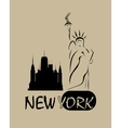 silhouette of the statue liberty vector image