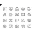 simple set video content line icons for website vector image
