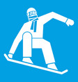 snowboarder icon white vector image vector image