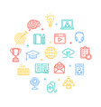 symbol of education online color round design vector image vector image