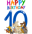 tenth birthday anniversary card vector image vector image