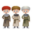 three priests in medieval time vector image