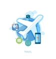 Travel destination via air and online booking flat vector image