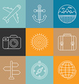 travel logos and icons in outline style vector image vector image