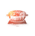 udon japanese soup noodles bowl with meat vector image vector image