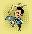 waiter with a cup coffee or tea vector image vector image