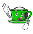with headphone green tea mascot cartoon vector image