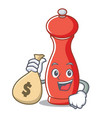 with money bag pepper mill character cartoon vector image