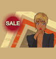 woman looking keep wow at sale vector image