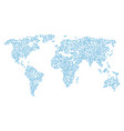 world map pattern of node link items vector image