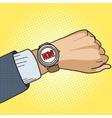 Wrist watch show now pop art style vector image vector image