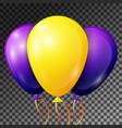 yellow and blue-purple balloons with ribbons vector image vector image