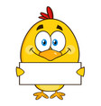 yellow chick character holding a blank sign vector image vector image
