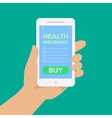smartphone with a form of health insurance vector image