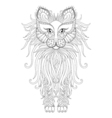 Fluffy Cat in zentangle style Freehand sketch for