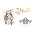 a woman in a broad-brimmed hat a set of outline vector image