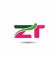 Alphabet Z and T letter logo vector image