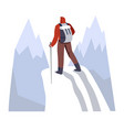 backpacker hiking snowy mountains with trekking vector image vector image