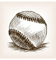 Baseball ball hand drawn sketch style vector image