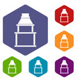Bbq grill icons set hexagon