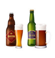 beer glasses bottles cup and vessels for vector image