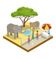 cage with elephants isometric 3d icon vector image
