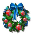 christmas sketch with wreath fir twigs vector image