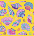 colorful seashells seamless pattern vector image