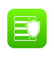 database with shield icon digital green vector image vector image